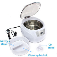 J064 Free Shipping JP 900s 750ml Mini Glasses Watch Jewelry CD Digital Ultrasonic Cleaner Bath