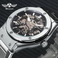WINNER Steampunk Men Automatic Mechanical Watch 3D Bolt Design Skeleton Dial Silver Stainless Steel Strap Fashion Wrist Watches