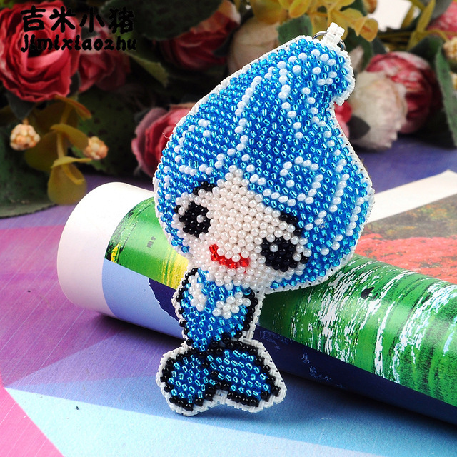US $3 0 40% OFF|9 5cm mermaid beads toys for children adult diy embroidery  keychain Hand made cross stitch full beaded knapsack new wholesale-in Beads