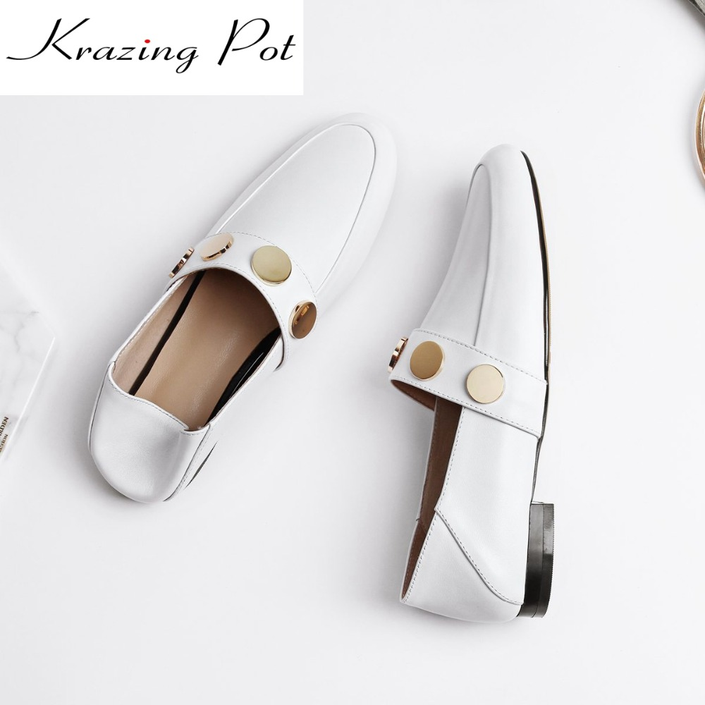Krazing Pot clasics full grain leather low heels shoes woman slip on ladies round toe metal decoration pregnant cozy pumps L1f2 branded men s penny loafes casual men s full grain leather emboss crocodile boat shoes slip on breathable moccasin driving shoes