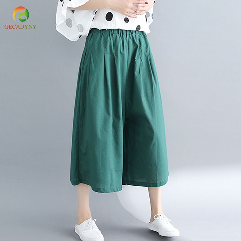 Ladies Summer Solid Cropped Trousers Women Elastic Waist Pleated Front Loose Casual Cotton Linen Wide Leg Pants Capris Girls