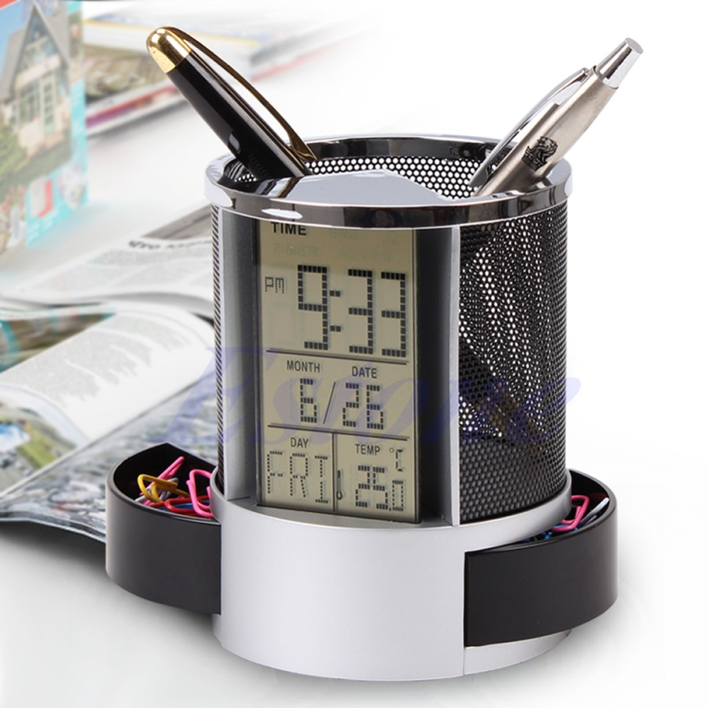 1 Pc Pen Holder Digital LCD Desk ALarm Clock & Mesh Rulers Pen Pencil Holder Time Temp Calendar Brand New And High Quality1 Pc Pen Holder Digital LCD Desk ALarm Clock & Mesh Rulers Pen Pencil Holder Time Temp Calendar Brand New And High Quality