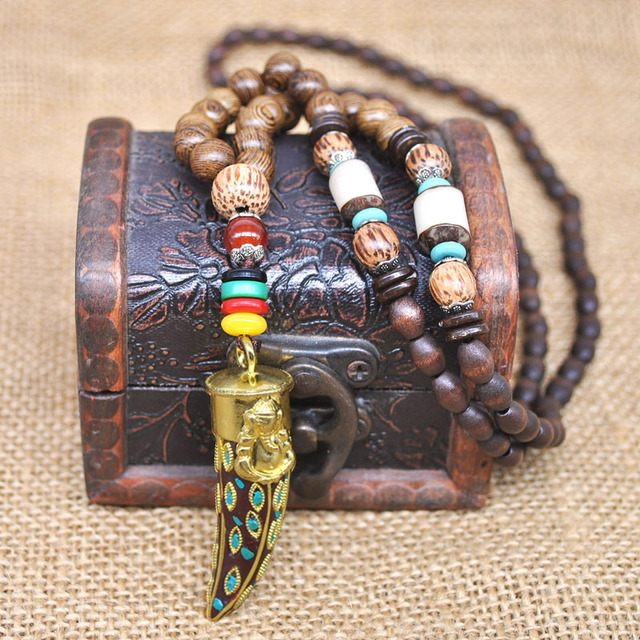 Yumfeel Handmade Nepal Jewelry Buddhist Mala Wood Beads Pendant Necklace Ethnic Horn Fish Long Statement Necklace For Women Men 3