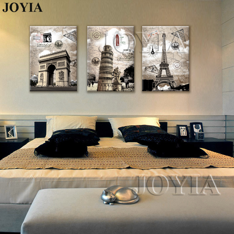 Italia Paris Vintage Style Pictura Canvas Art Prints 3 Piece Europa Peisaj Decorative Decoratiuni Pentru Decorare Zid Nu Frame