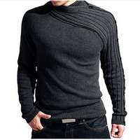 2018 Autumn Winter Knitted Solid Casual Men Sweater Long Sleeve O neck Slim Pullover Slim Hot Sale New Brand Men's Sweaters
