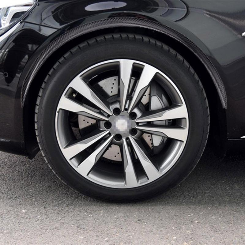 New 2pcs Universal Black Car Carbon Fiber Large Round Arc Strip Protector Wheel Eyebrow  ...