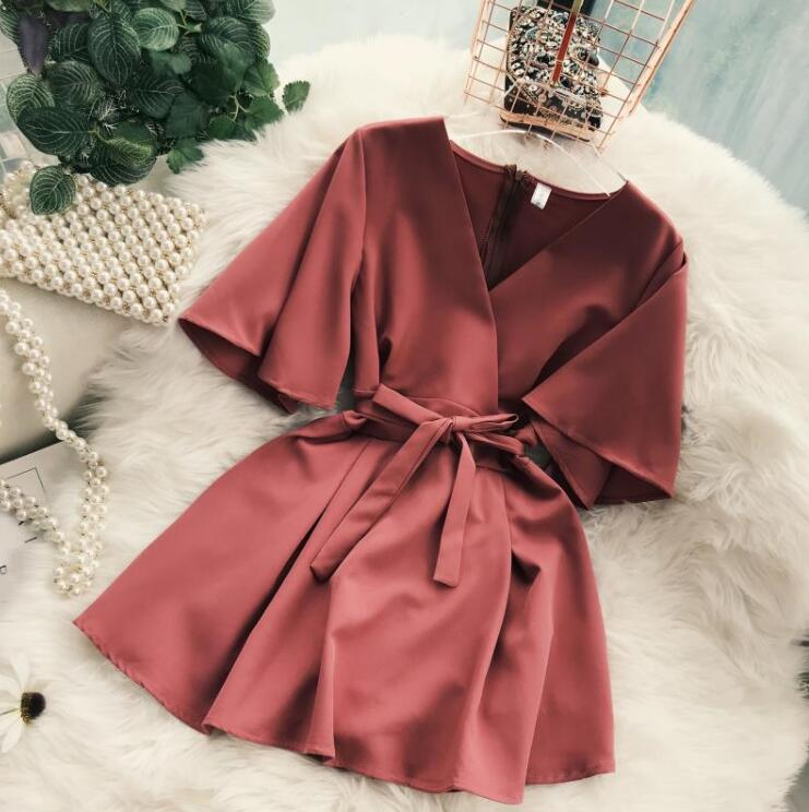 Women's V neck flare sleeve solid color Playsuits Lady's Vintage Spring Summer Wide leg shorts   Jumpsuits   TB1035
