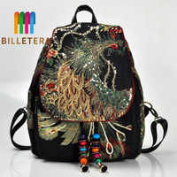 BILLETERA Fashion Women Backpack Ethnic Embroidery New Bag Peacock Embroidery Bag Canvas Women Shoulder Backpack