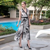 VOA 2017 Summer Sleeveless Sexy Deep V Neck Vintage Chinese Style Elegant Silk Dress Plus Size