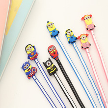 10sets Lovely Gifts Minions cartoon style Earphone Cable Wire Cord Organizer Holder Winder For Headphone Wire Storage