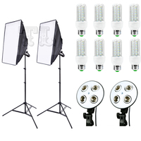 DHL Free Shipping 8pcs 20w LED 2 Light Stand 2 Light Holder 2 Softbox For Photo