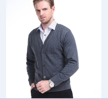 2015 New style autumn and winter men casual solid color v-neck cashmere thick sweater cardigan with velvet