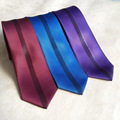 2017 Top Designer Tie Unique Skinny Necktie with Vertical Stripe in Middle (Red, Purple, Royal Blue)