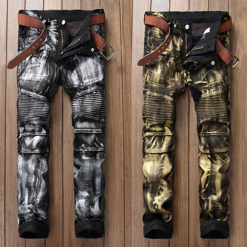 Fashion Streetwear Men Jeans Punk Style Night Club Golden Silver Paint Printed Jeans Men Slim Fit Brand Biker Jeans Long Pants
