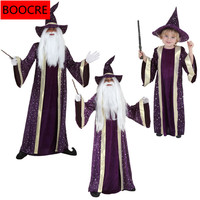 Halloween Christmas Stage Performance Adlut Kids Cosplay Costumes Cloak Magician Robe Wizard H