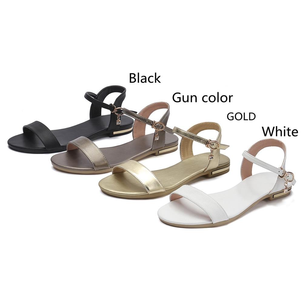 HTB1RFbao1OSBuNjy0Fdq6zDnVXac MORAZORA Plus size 34-46 New genuine leather sandals women shoes fashion flat sandals cow leather summer rhinestone ladies shoes