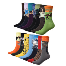 1 Pair Men Socks The Art Abstract Painting Pattern Series Of Cotton Socks In Tube Retro