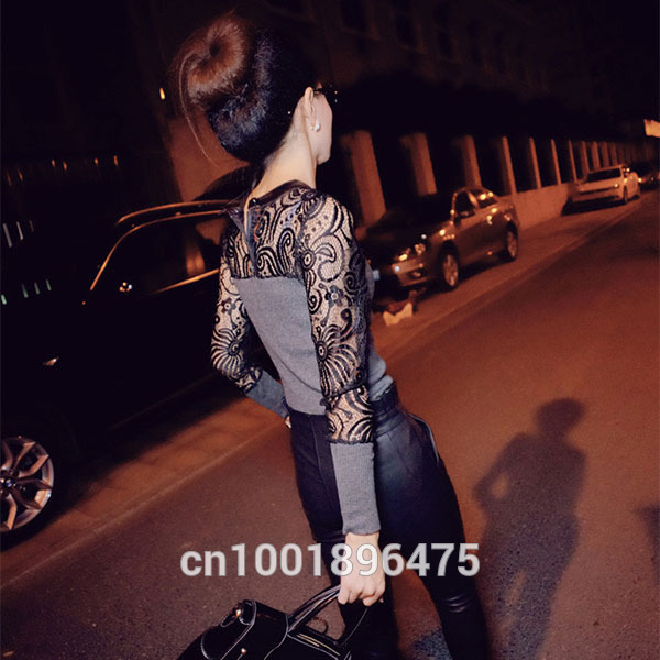 HTB1RFbklCcqBKNjSZFgq6x kXXal - Women Long Sleeve Lace T-shirt Slim Knitwear Leather Crew Neck Knitted Tops Black Gray