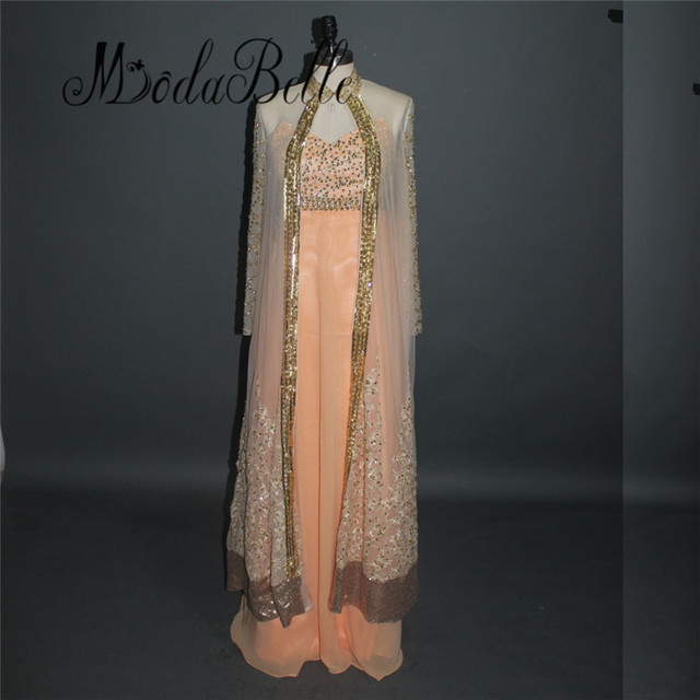 Ladies Chiffon Embroidery Oriental Indian Evening Dresses With Long ...