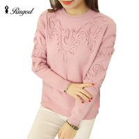 RUGOD 2017 Line Embroidery Sweater Women Sweaters and Pullovers High Quality Winter O Neck Asymmetry Pattern Jumper Pull Femme