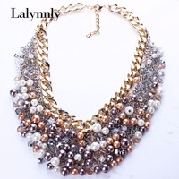 18K Gold Plated Colorful Imitation Pearl Multilayer Crystal Chains Vintage Necklace Women N25871