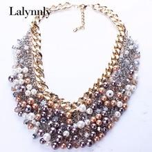 Новая мода ювелирные изделия золото Цвет ful имитация жемчуга Многослойные Кристалл Сеть Винтаж ожерелье женщины Аксессуары N25871