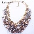 Nueva Joyería de Oro Color Colorido de Imitación de la Perla de Múltiples Capas de Cristal Collar de Cadena de La Vendimia Mujeres Accesorios N25871