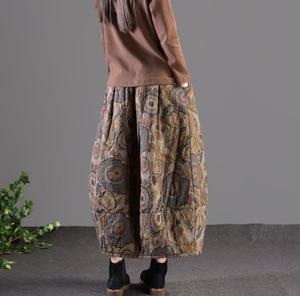 Image 3 - Mùa thu Mùa Đông Váy Retro Phụ Nữ Đàn Hồi Eo Váy Lỏng Lẻo In túi Dày Hơn Ấm Áp Phụ Nữ Pha Trộn Váy Giản Dị 2018