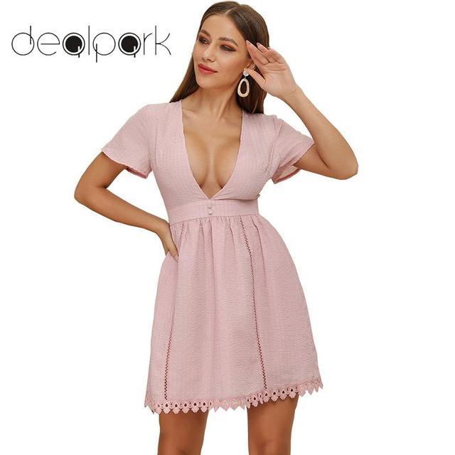 92bcb8f139 Women A-Line Party Dresses Deep V Neck Mini Summer Dress 2019 Short Sleeves  High Waist Hollow Out Crocheted Lace Dress vestidos