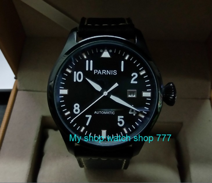 47mm PARNIS Automatic Self-Wind Mechanical movement men's watch Black dial PVD case luminous Mechanical watches zdgd116a 40mm parnis black dial sapphire glass asian automatic self wind mechanical movement men s watch mechanical watches g56