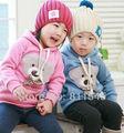 Size 5T Autumn Winter Cute Bear Pink Girls Jacket Hoodies Baby Coat Kids Sweater Children Outerwear Toddler Clothing Wear