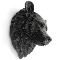 Resin black bear Animal head wall decoration living room wall hanging statues skull ornament home bedroom decor gift for man