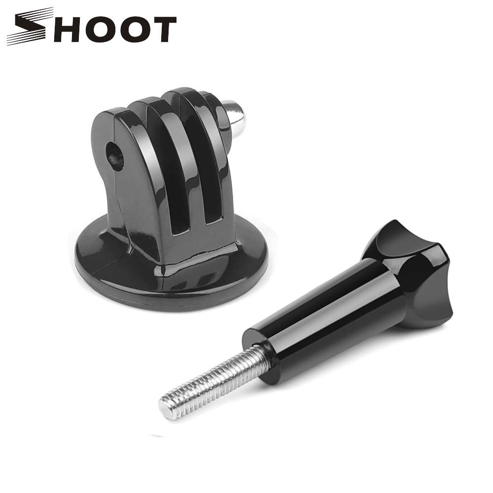 SHOOT Action Camera 1/4 Screw Hole Tripod Adapter Mount For GoPro Hero 8 5 7 Sjcam Xiaomi Yi 4K Go Pro With Long Bolt Accessory