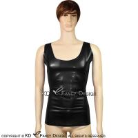 Black Sleeveless Sexy Latex Shirt Rubber Undershirts Top Singlet Plus Size YF 0011