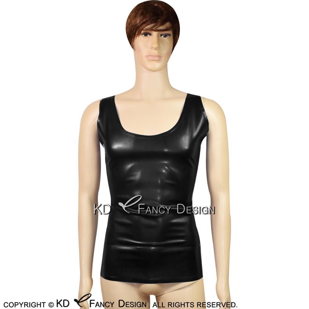 Noir sans manches Sexy Latex chemise en caoutchouc maillots de bain haut Singlet grande taille YF-0011