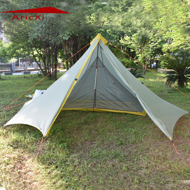 Ultralight Outdoor Camping Teepee double 20D Silnylon Pyramid Tent 1-2 Person Large Tent Waterproof Backpacking Hiking Tents mobi outdoor camping equipment hiking waterproof tents high quality wigwam double layer big camping tent