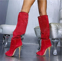 Hot Selling Hollow Out Knee High Women Boots Fashion Peep Toe High Heel Suede Boots Party