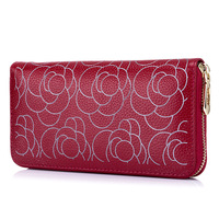 100% Real Genuine Leather Women Wallets Brand Design High Quality 2017 Cell Phone Card Holder Long Lady Wallets Rose Purse Red
