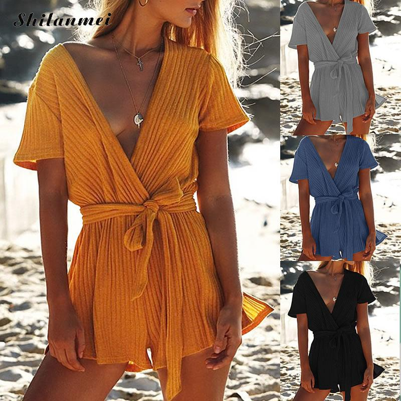 Persevering 2019 Summer Women Playsuits O-neck Short Sleeve Wide Leg Pants Bow Belt Loose Female Fashion Cotton Playsuit Rompers