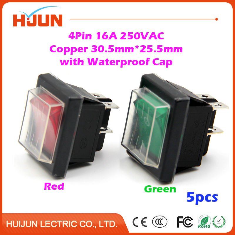 5pcs 30.5*25.5mm 4Pin On-Off-On Copper Boat Rocker Switch with Waterproof Cap 16A 250VAC Red Green Light Car Dash Dashboard Home