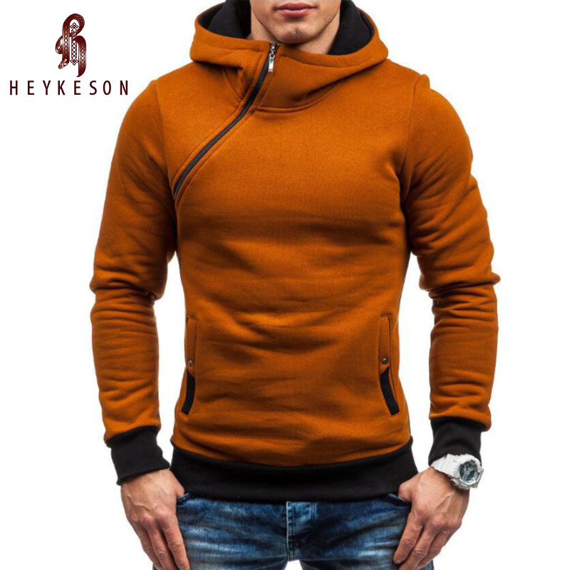 HEYKESON Brand 2018 Hoodie Oblique Zipper Solid Color Hoodies Men Fashion Tracksuit Male Sweatshirt Hoody Mens Purpose Tour XXL