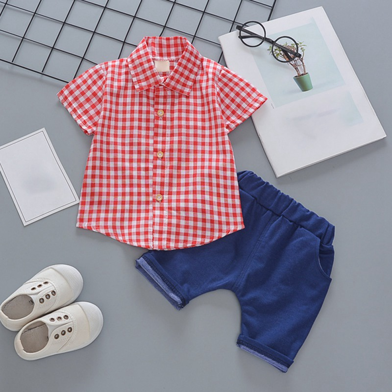 Toddler Boys Plaid Print Short Sleeve Tops with Shorts Outfit 33