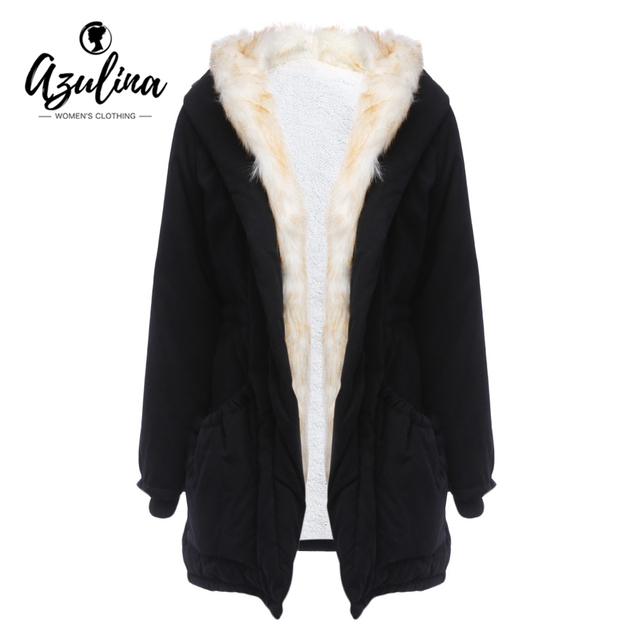 55b10a83091c AZULINA Winter Cotton Jacket Coat Women Warm Parka Real Fur Lined Hooded  Coats Female Casual Clothing