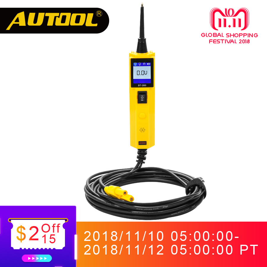 AUTOOL BT260 Car Circuit Tester Power Probe Automotive Scanner Electrical Auto LED Display Voltage Digital Diagnostic Tools universal automotive lcd digital voltage lamp circuit tester circuit voltage tracker car auto circuit detector diagnostic tool