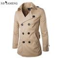 2017 Nova Moda Homens do Revestimento de Trincheira Slim Fit Outono Inverno Sólida Dragona Blusão Jaqueta Casual Curto Casaco 13M0381