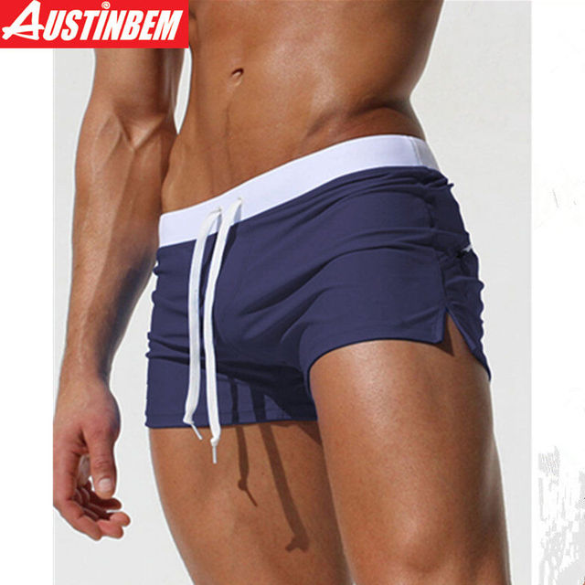 4cdd50beadb Austinbem Swimwear Men Swimming Trunks Zipper Pocket Swimsuit Mens Swim  Shorts Beachwear Boxer Briefs 2017 Gay