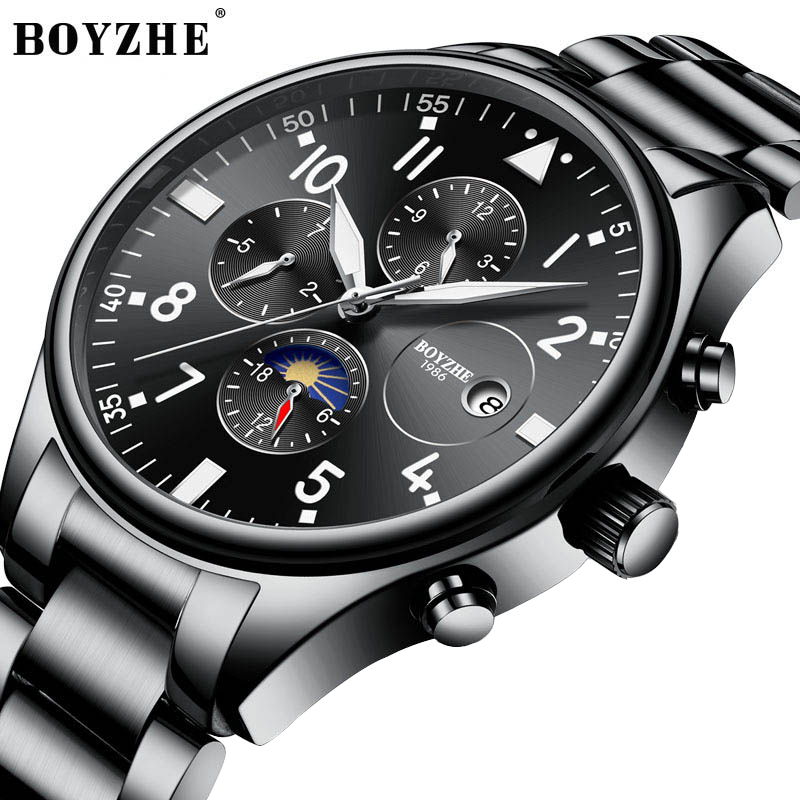 BOYZHE Automatic Mechanical Men Watch Fashion Top Brand Sports Watches Moon Phase Stainless Steel Black Relogio Masculino 2019BOYZHE Automatic Mechanical Men Watch Fashion Top Brand Sports Watches Moon Phase Stainless Steel Black Relogio Masculino 2019
