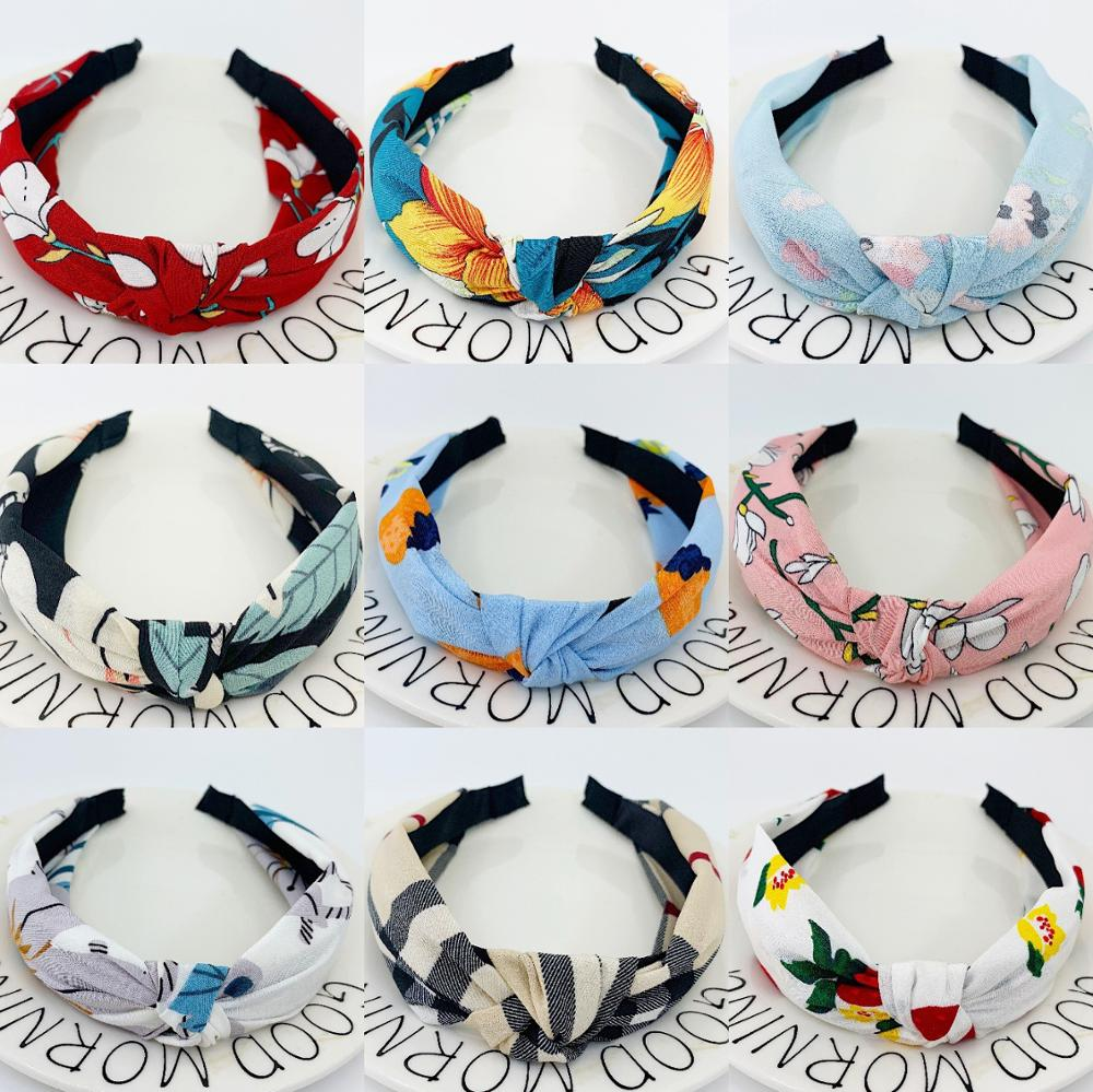 New Flower Headbands For Women Hair Hoop Knot Turban Headband Elastic Hairband Hair Accessories For Girls No Slip Stay