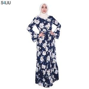Image 1 - Elegante Muslimischen Abaya Drucken Floral Kleid Frauen Strickjacke Lange Kleid Dubai Jubah Ramadan Thobe Islamische Verehrung Gebet Kleidung