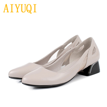Купить с кэшбэком AIYUQI women's fashion shoes 2019 spring new genuine leather women's shoes, hollow comfortable office shoes women dress shoes